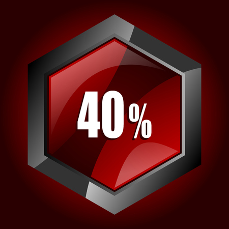 40 percent hexagonal glossy dark red and black web icon, vector illustration in eps 10
