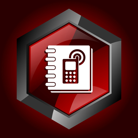 Phonebook hexagonal glossy dark red and black web icon, vector illustration in eps 10
