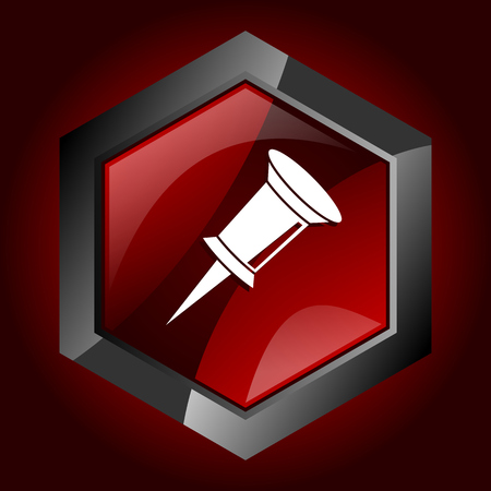 Pin hexagonal glossy dark red and black web icon, vector illustration in eps 10 Illustration