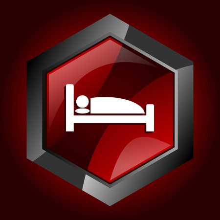 Hotel hexagonal glossy dark red and black web icon, vector illustration in eps 10 Çizim