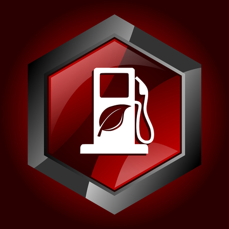 Biofuel hexagonal glossy dark red and black web icon, vector illustration in eps 10