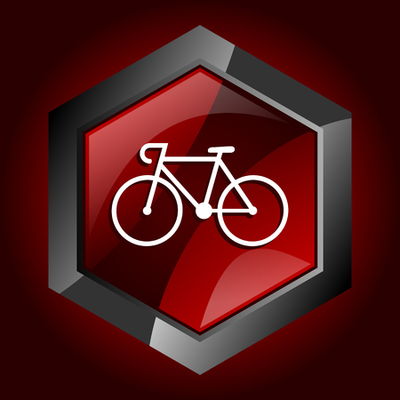 Bicycle hexagonal glossy dark red and black web icon, vector illustration in eps 10