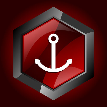 Anchor hexagonal glossy dark red and black web icon, vector illustration in eps 10  イラスト・ベクター素材