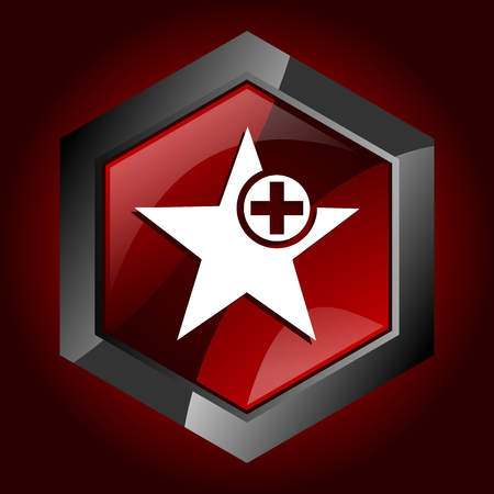 Star hexagonal glossy dark red and black web icon, vector illustration in eps 10 Vektoros illusztráció