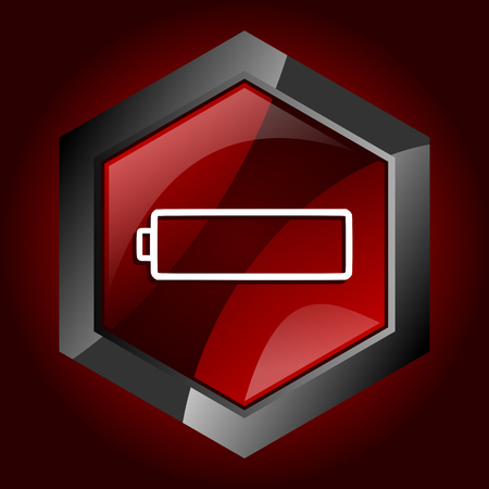 Battery hexagonal glossy dark red and black web icon, vector illustration in eps 10 Stock Vector - 118006107
