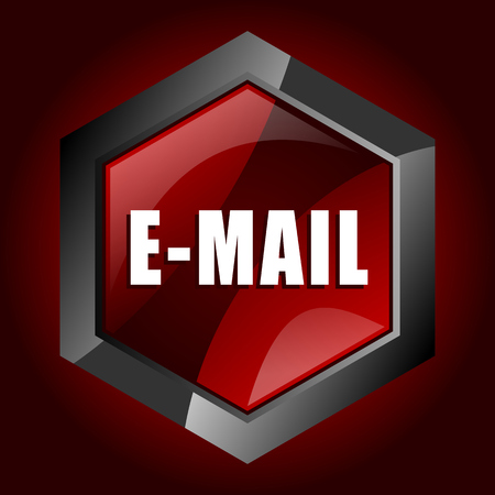 Email hexagonal glossy dark red and black web icon, vector illustration in eps 10