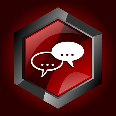 Forum hexagonal glossy dark red and black web icon, vector illustration in eps 10
