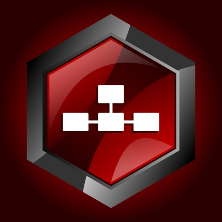 Database hexagonal glossy dark red and black web icon, vector illustration in eps 10