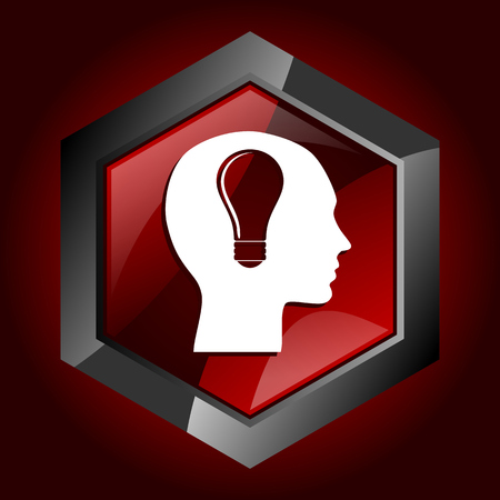 Head hexagonal glossy dark red and black web icon, vector illustration in eps 10