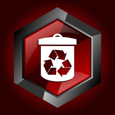 Recycle hexagonal glossy dark red and black web icon, vector illustration in eps 10