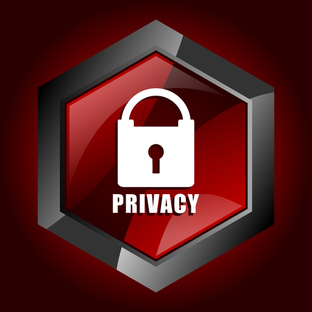 Privacy hexagonal glossy dark red and black web icon, vector illustration in eps 10