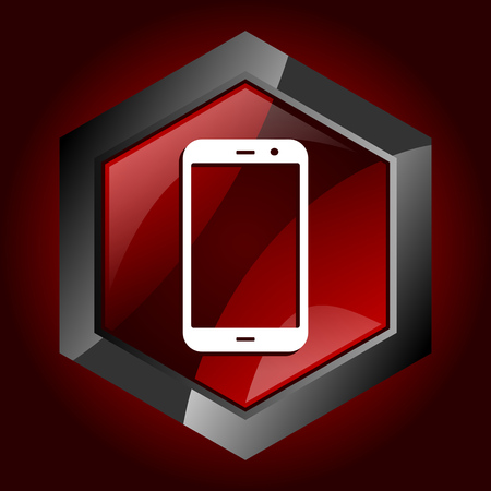Smartphone hexagonal glossy dark red and black web icon, vector illustration in eps 10