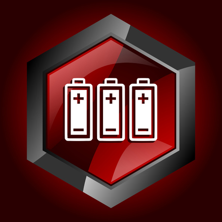 Battery hexagonal glossy dark red and black web icon, vector illustration in eps 10
