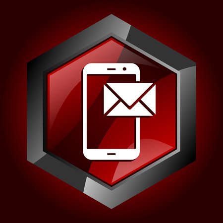 Mail hexagonal glossy dark red and black web icon, vector illustration in eps 10 Illustration