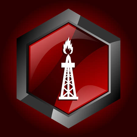 Gas hexagonal glossy dark red and black web icon, vector illustration in eps 10 Illustration