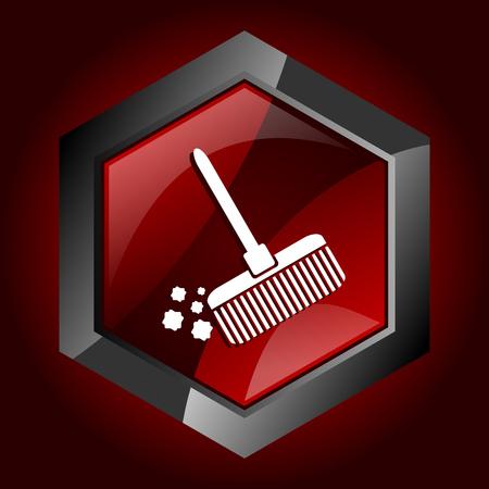 Broom hexagonal glossy dark red and black web icon, vector illustration in eps 10 Illustration