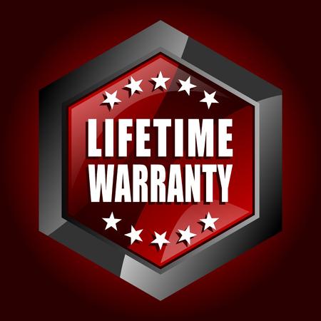Lifetime warranty hexagonal glossy dark red and black web icon, vector illustration in eps 10