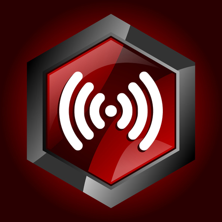 Wifi hexagonal glossy dark red and black web icon, vector illustration in eps 10