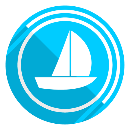 Yacht flat design blue web icon, easy to edit vector illustration for webdesign and mobile applications