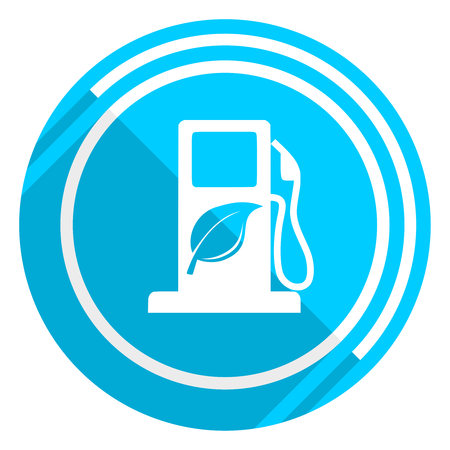 Biofuel flat design blue web icon, easy to edit vector illustration for webdesign and mobile applications