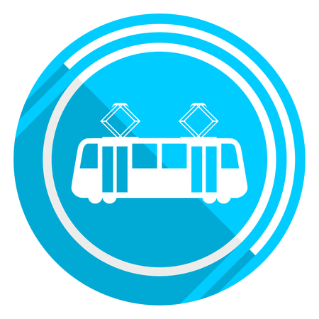 Tram flat design blue web icon, easy to edit vector illustration for webdesign and mobile applications