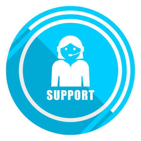 Support flat design blue web icon, easy to edit vector illustration for webdesign and mobile applications  Illustration
