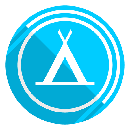 Camp flat design blue web icon, easy to edit vector illustration for webdesign and mobile applications