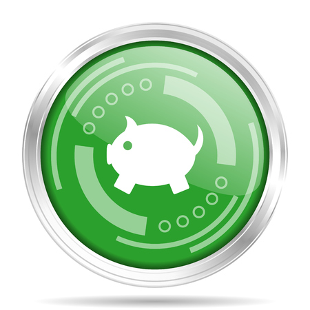 Piggy bank silver metallic chrome border round web icon, vector illustration for webdesign and mobile applications isolated on white background