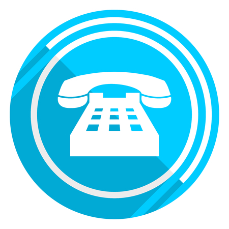 Phone flat design blue web icon, easy to edit vector illustration for webdesign and mobile applications
