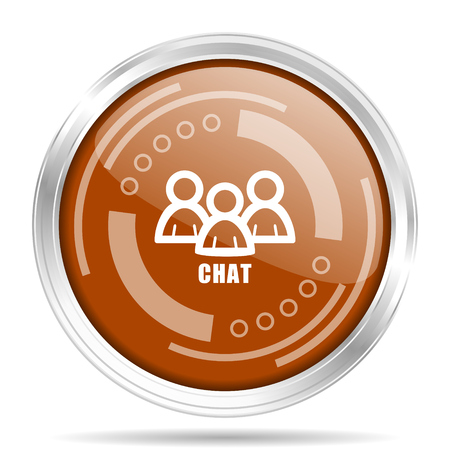 Chat silver metallic chrome border round web icon, vector illustration for webdesign and mobile applications isolated on white background