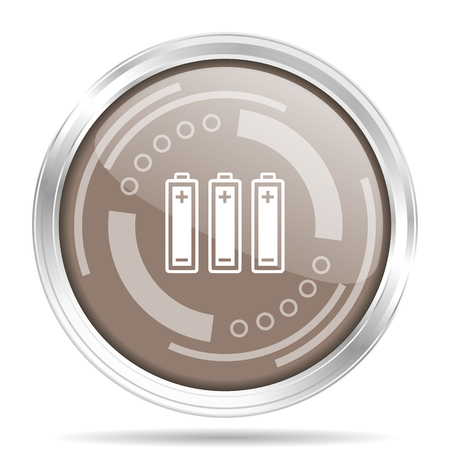 Battery silver metallic chrome border round web icon, vector illustration for webdesign and mobile applications isolated on white background
