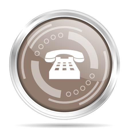 Phone silver metallic chrome border round web icon, vector illustration for webdesign and mobile applications isolated on white background