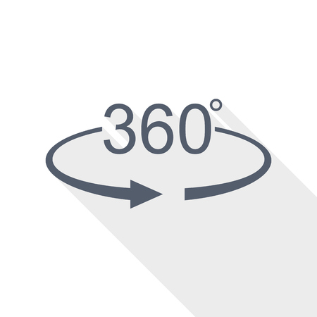 360 degree panorama icon, vector illustration