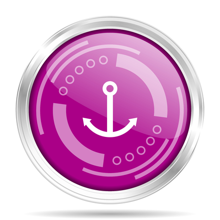 Anchor silver metallic chrome border round web icon, vector illustration for webdesign and mobile applications isolated on white background