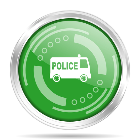 Police silver metallic chrome border round web icon, vector illustration for webdesign and mobile applications isolated on white background Illusztráció