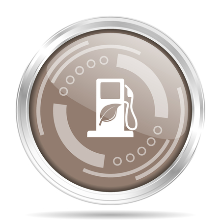 Biofuel silver metallic chrome border round web icon, vector illustration for webdesign and mobile applications isolated on white background