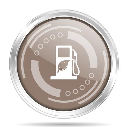 Borde de cromo metálico plateado de biocombustible icono web redondo, ilustración vectorial para diseño web y aplicaciones móviles aisladas sobre fondo blanco