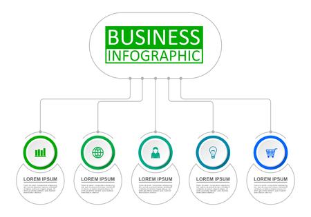 Business infographic presentation template with 5 options. Vector illustration. Vektoros illusztráció