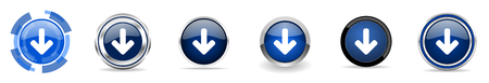 Download arrow silver metallic chrome border vector icons, set of web buttons, round blue signs in eps 10