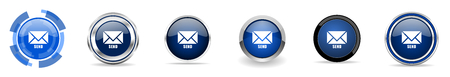 Send silver metallic chrome border vector icons, set of web buttons, round blue signs in eps 10