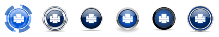 Printer silver metallic chrome border vector icons, set of web buttons, round blue signs in eps 10 Illustration
