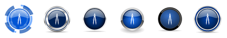Learning silver metallic chrome border vector icons, set of web buttons, round blue signs in eps 10