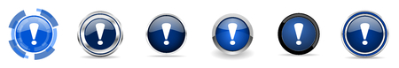Exclamation sign silver metallic chrome border vector icons, set of web buttons, round blue signs in eps 10 Ilustración de vector