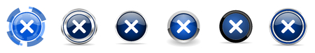 Cancel silver metallic chrome border vector icons, set of web buttons, round blue signs in eps 10 Illustration