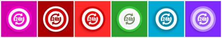 24h icon set, colorful flat design vector illustrations in 6 options for web design and mobile applications Illustration