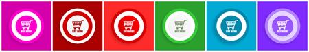 Jetzt kaufen Icon-Set, farbenfrohe flache Design-Vektorillustrationen in 6 Optionen für Webdesign und mobile Anwendungen