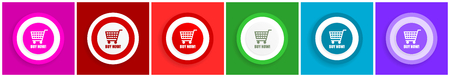 Buy now icon set, colorful flat design vector illustrations in 6 options for web design and mobile applications