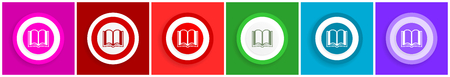 Book icon set, colorful flat design vector illustrations in 6 options for web design and mobile applications