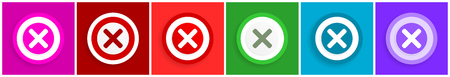 Cancel icon set, colorful flat design vector illustrations in 6 options for web design and mobile applications
