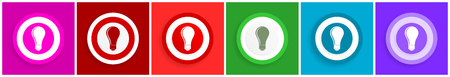 Bulb icon set, colorful flat design vector illustrations in 6 options for web design and mobile applications